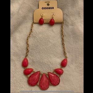 Pink and Gold Necklace and Earring Set